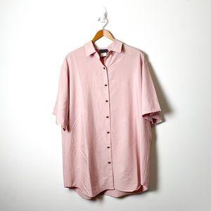 Vintage Blush Pink Oversized Button Up Shirt